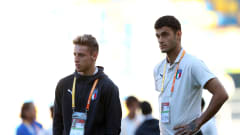 GDYNIA, POLAND - JUNE 14: Davide Frattesi and Gianluca Scamacca of Italy inspect the pitch ahead of the 2019 FIFA U-20 World Cup Third Place Play-Off match between Italy and Ecuador at Gdynia Stadium on June 14, 2019 in Gdynia, Poland. (Photo by Lars Baron - FIFA/FIFA via Getty Images)