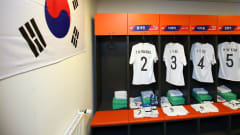 LUBLIN, POLAND - JUNE 11: A general view as the shirts of Taehyeon Hwang, Jaeik Lee and Jisol Lee of Korea Republic are displayed inside the Korea Republic dressing room ahead of the 2019 FIFA U-20 World Cup Semi Final match between Ecuador and Korea Republic at Arena Lublin on June 11, 2019 in Lublin, Poland. (Photo by Alex Livesey - FIFA/FIFA via Getty Images)