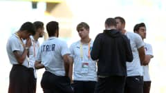 GDYNIA, POLAND - JUNE 14: Alessandro Tripaldelli of Italy inspects the pitch with his team mates ahead of the 2019 FIFA U-20 World Cup Third Place Play-Off match between Italy and Ecuador at Gdynia Stadium on June 14, 2019 in Gdynia, Poland. (Photo by Lars Baron - FIFA/FIFA via Getty Images)