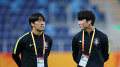 LUBLIN, POLAND - JUNE 11: Kyuhyuk Lee (L) and Jaehyeon Go of Korea Republic (R) inspect the pitch ahead of the 2019 FIFA U-20 World Cup Semi Final match between Ecuador and Korea Republic at Arena Lublin on June 11, 2019 in Lublin, Poland. (Photo by Alex Livesey - FIFA/FIFA via Getty Images)