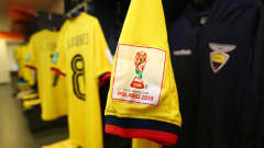 LUBLIN, POLAND - JUNE 11: A detailed shot of the FIFA U-20 logo is seen on a shirt inside the Ecuador dressing room ahead of the 2019 FIFA U-20 World Cup Semi Final match between Ecuador and Korea Republic at Arena Lublin on June 11, 2019 in Lublin, Poland. (Photo by Alex Livesey - FIFA/FIFA via Getty Images)