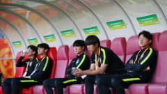 LUBLIN, POLAND - JUNE 11: Players of Korea Republic inspect the pitch from the bench ahead of the 2019 FIFA U-20 World Cup Semi Final match between Ecuador and Korea Republic at Arena Lublin on June 11, 2019 in Lublin, Poland. (Photo by Alex Livesey - FIFA/FIFA via Getty Images)