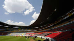 GUADALAJARA, MEXICO - MARCH 19: General view of the empty stands of Jalisco stadium before the game between during the match between Canada and El Salvador as part of the 2020 Concacaf Men's Olympic Qualifying at Jalisco Stadium on March 19, 2021 in Guadalajara, Mexico. (Photo by Refugio Ruiz/Getty Images)