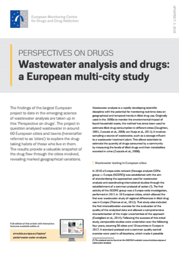 Wastewater analysis and drugs: A European multi-city study 2018