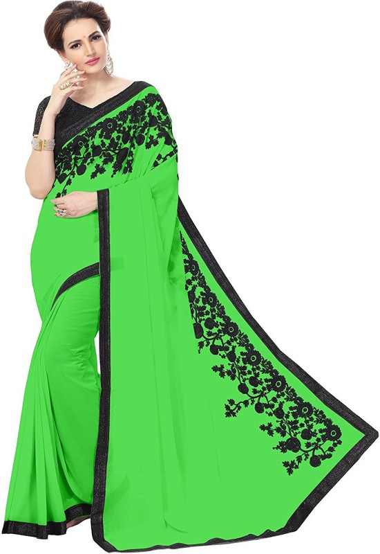 d5d2ff4f4626a Buy GLAMORY SAREE Solid Bollywood Georgette Saree(Green ...