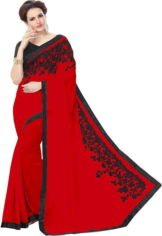 df28c70acc679 Buy GLAMORY SAREE Solid Bollywood Georgette Saree(Red) Online ...
