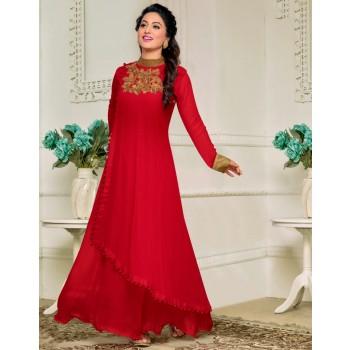 Buy Hina Khan Georgette Red Plain Semi Stitched Long Anarkali Suit