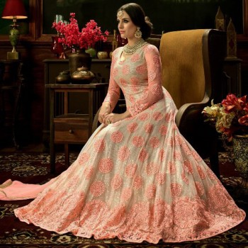 93ab48dfd2e4 Spark Creation Net Peach Embroidered Semi Stitched Long Anarkali Suit -  LRA15