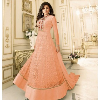 feda5ae22f2 Gopinath Collection Drashti Dhami Net Peach Embroidered Semi Stitched Long  Anarkali Suit - KTS2515