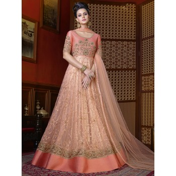 a66c37d4316 Smysly Net   Art Silk Peach Embroidered Semi Stitched Long Anarkali Suit -  M459