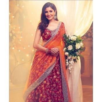 93715f301e06e Enter Creation Anushka Sharma Taffeta Silk Red Embroidered Semi Stitched Bollywood  Designer Lehenga - 304