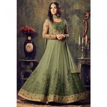 24dacaed42b Jiya Net Green Embroidred Semi Stitched Anarkali Suit - RF01
