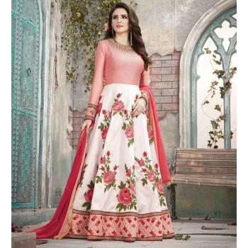 7fa671666ba Aadya Silk White   Pink Embroidered Semi Stitched Long Anarkali Suit - 1588