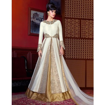 1aec68293a71 Silk Off-White Embroidered Unstitched Designer Suit - W5202