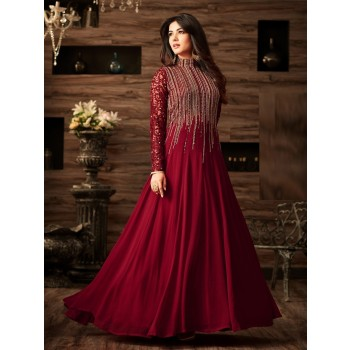 1818a754973 Fashion Basket Sonal Chauhan Georgette Red Embroidered Semi Stitched  Anarkali Suit - FASB11