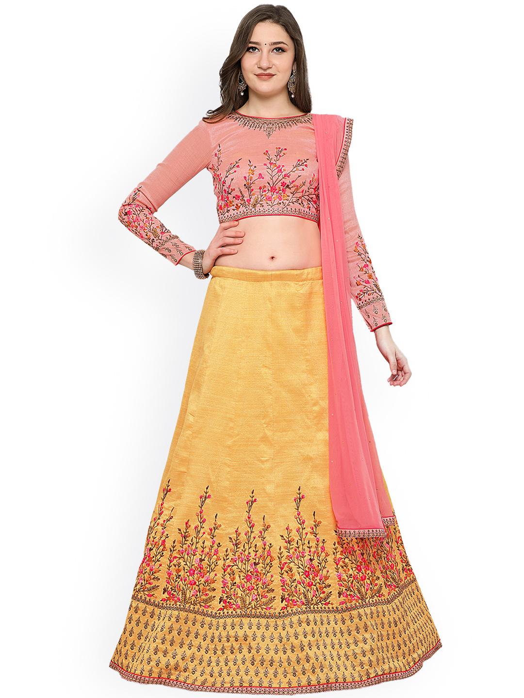 07b3784a2 RIYA Gold-Toned   Pink Embroidered Semi-Stitched Lehenga   Unstitched  Blouse with Dupatta