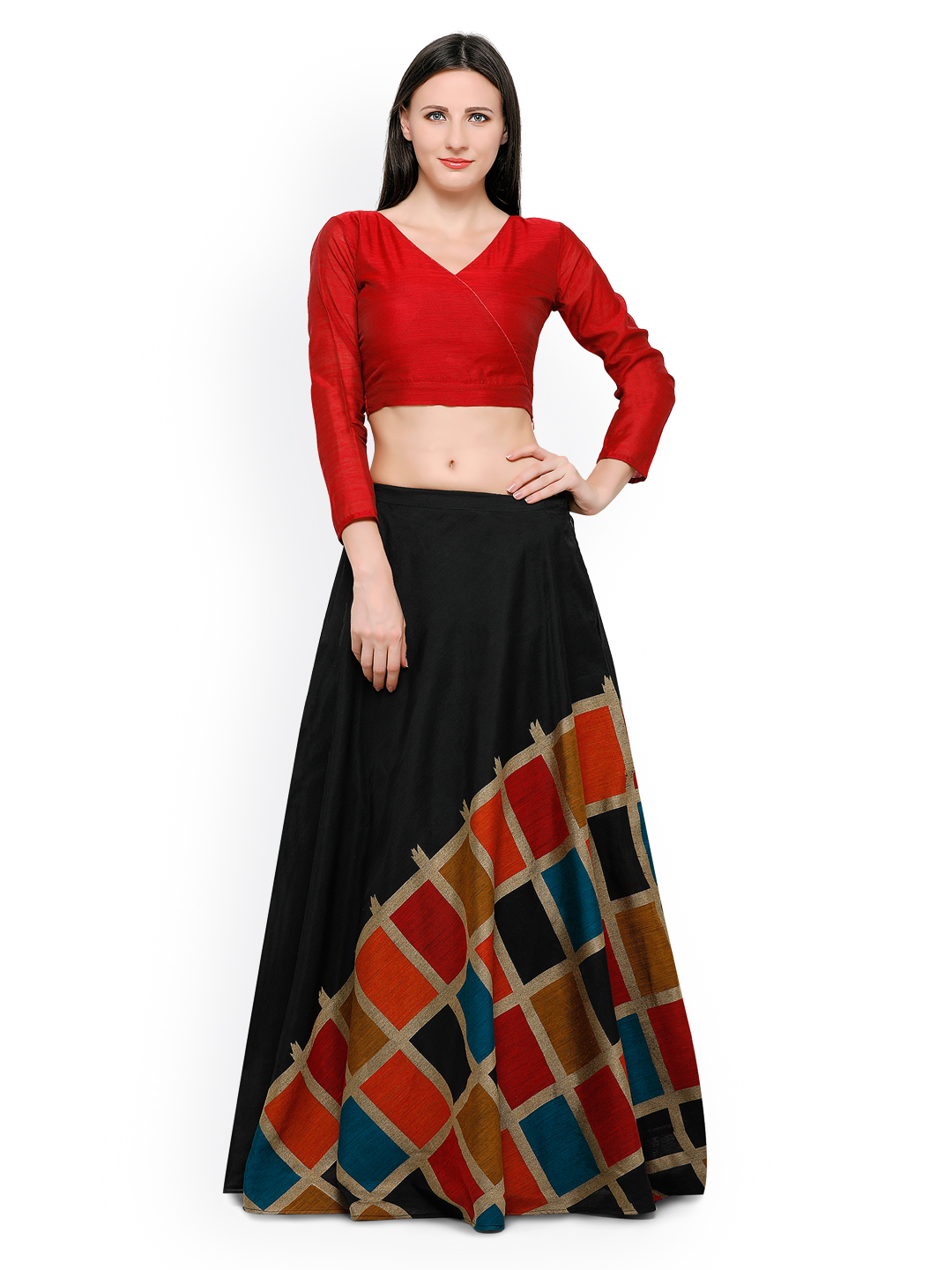 5158d256358 Inddus Red   Black Banarasi Cotton Semi-Stitched Lehenga Choli