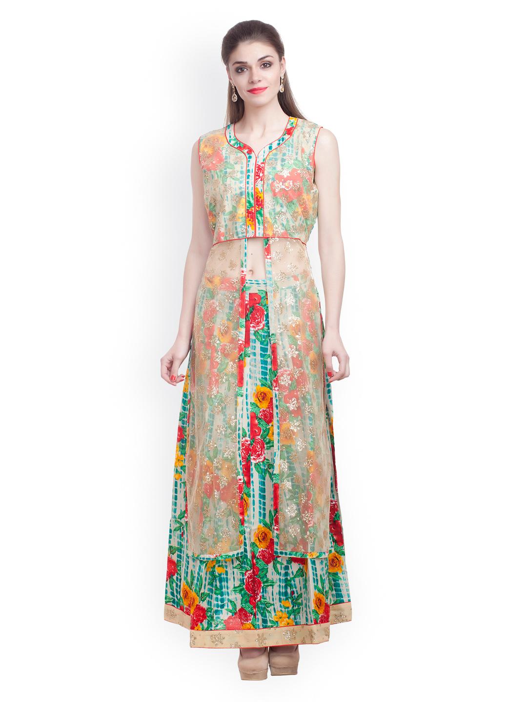 384993a186 Chhabra 555 Sea Green & Beige Printed Semi-Stitched Lehenga Choli