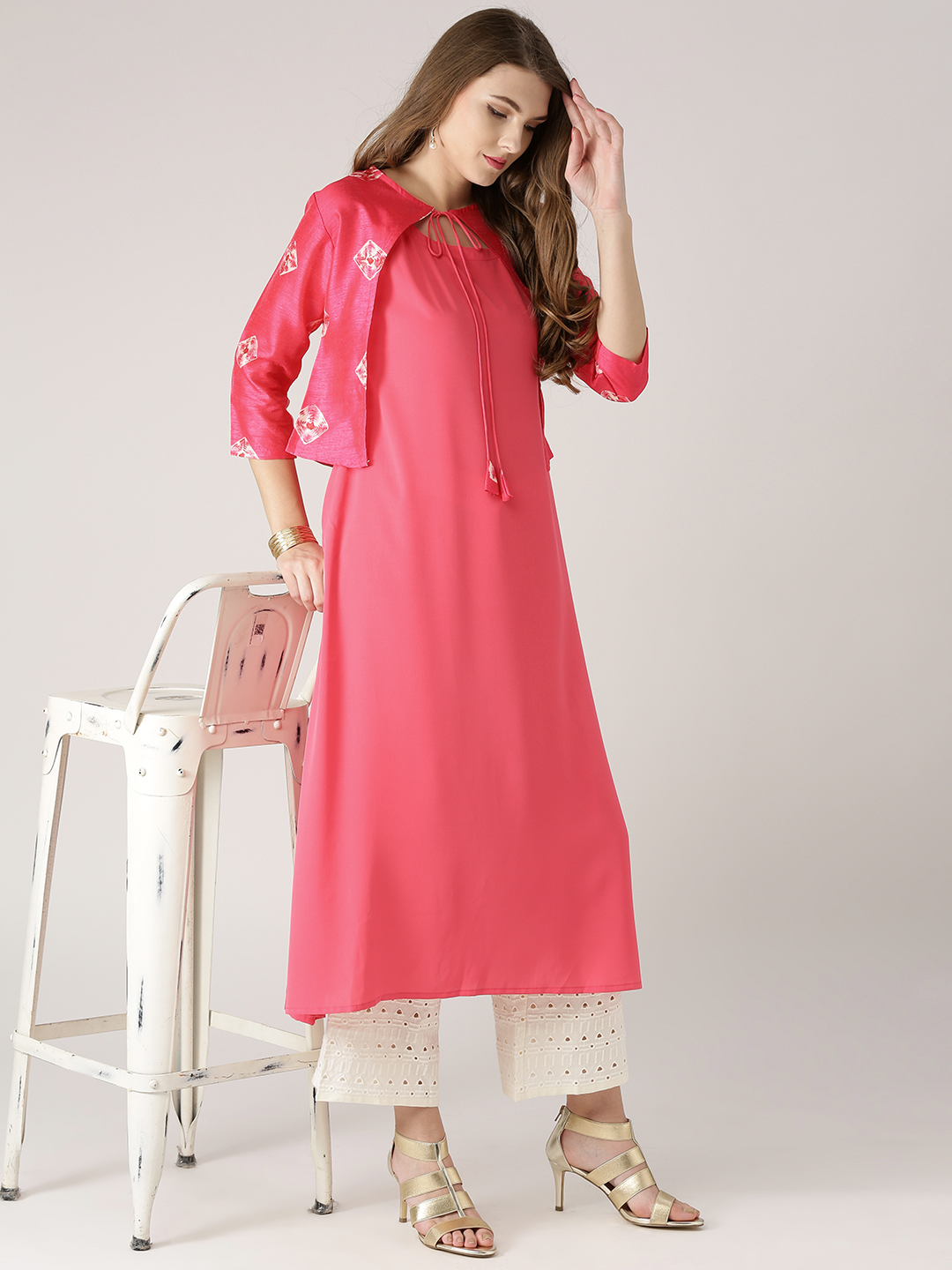 f740c0a8f27 Buy Libas Women Pink Solid A-Line Kurta with Ethnic Jacket Online ...