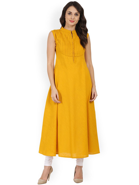 416f806d81ce Nayo Women Mustard Solid A-Line Kurta