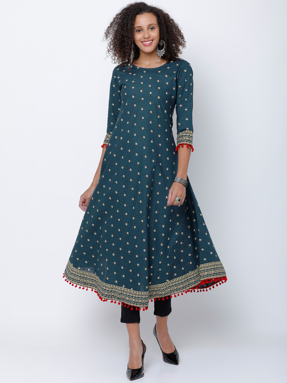 cd3d0dc9370 Buy Vishudh Women Teal   Red Printed Anarkali Kurta Online ...