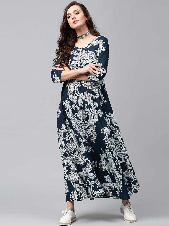 b653698909 Buy AKS Women Navy & Off-White Lightweight Printed Maxi Dress ...