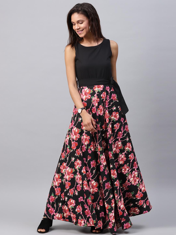 7b151c5bc49 Buy Tokyo Talkies Women Black   Red Printed Maxi Dress Online ...