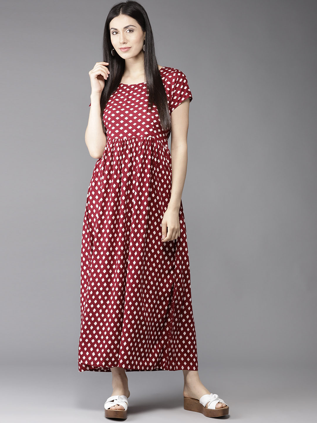 f89fb78a724a Buy HERE&NOW Women Maroon & White Printed Maxi Dress Online ...