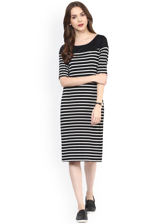 98d52c9337 Buy Zima Leto Women Black   White Striped Sheath Dress Online ...