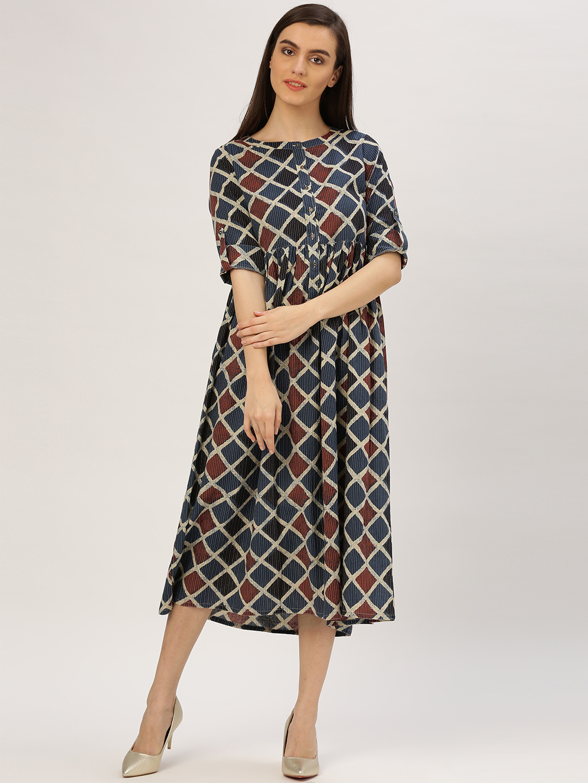 43ea04cf969 Buy Jaipur Kurti Women Blue Printed Fit and Flare Dress Online ...