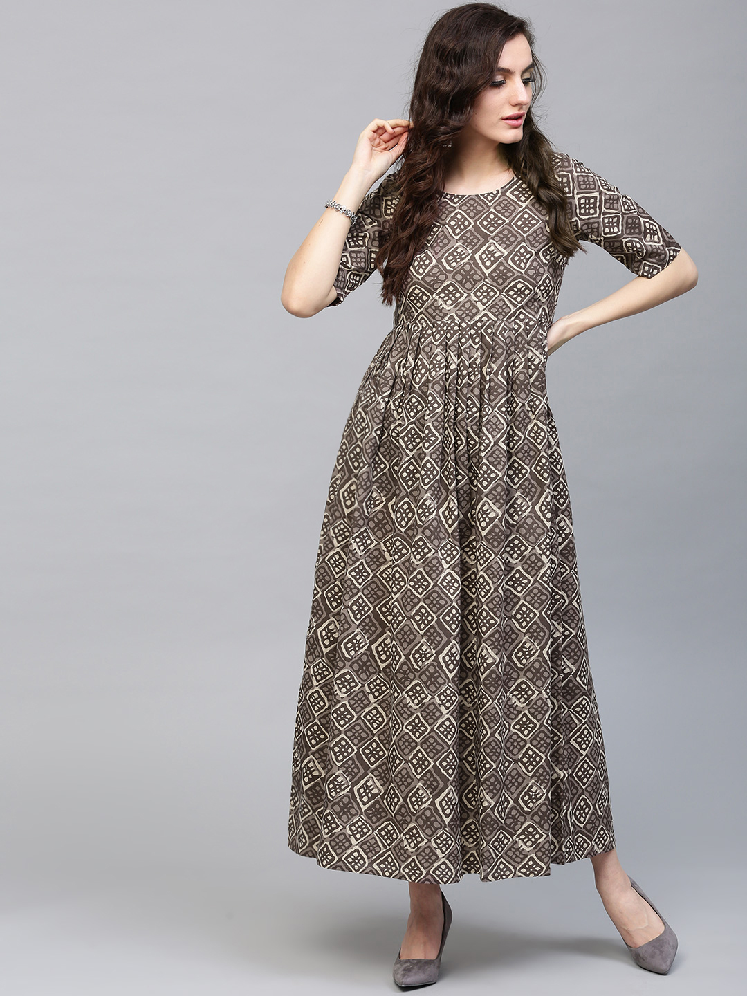 e0ca0b8b06be Buy AKS Women Grey Printed Maxi Dress with Gathers Online ...