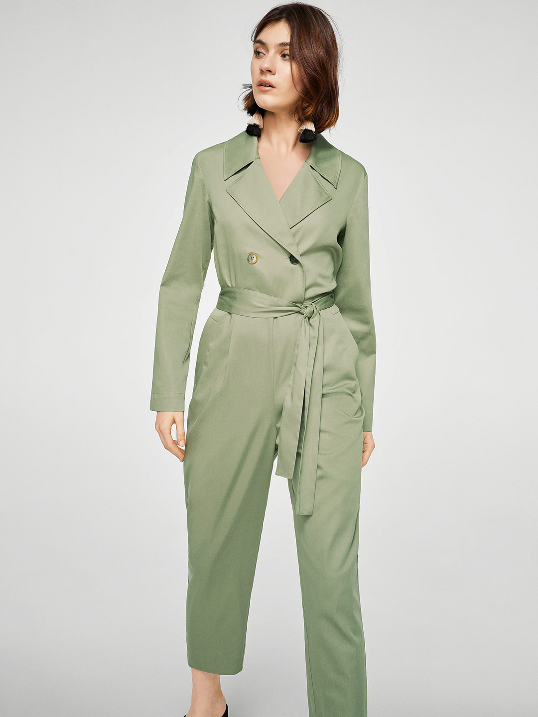 385e321176 Buy MANGO Olive Green Solid Basic Cropped Jumpsuit Online ...