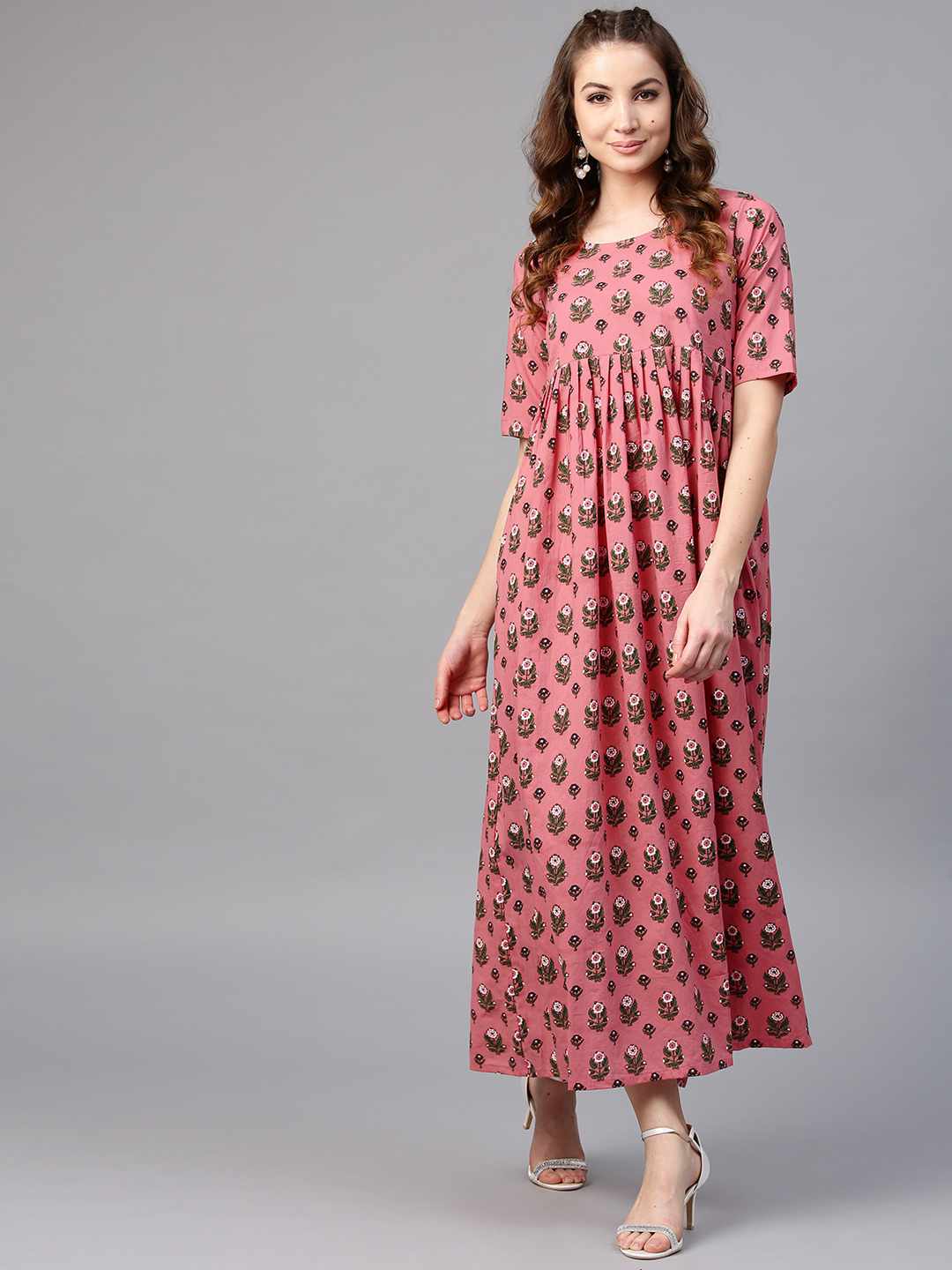 3e36cf65684e Buy AKS Women Coral Pink   Green Printed Maxi Dress Online ...