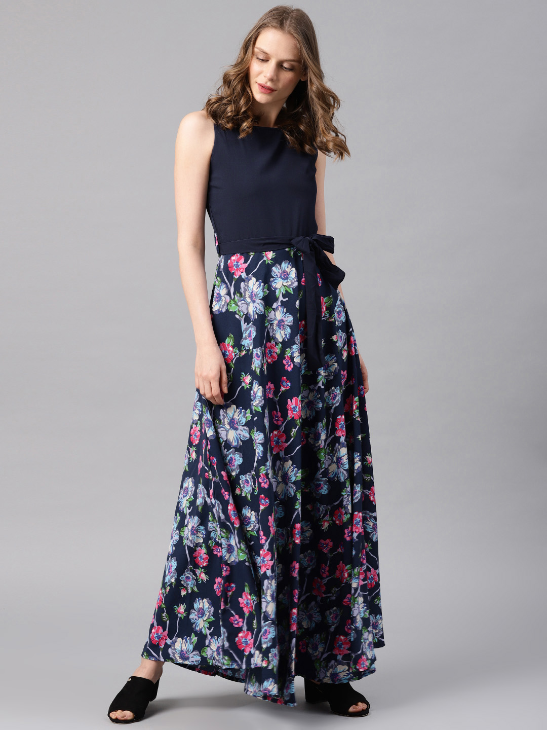 ab24980175a Buy Tokyo Talkies Women Navy Blue Printed Maxi Dress Online ...