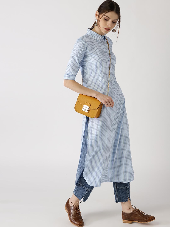 13fac7a2a Libas Women Blue   White Checked Pathani Kurta Price in India