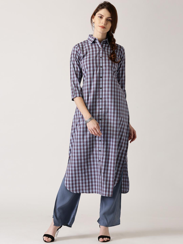 a1af51f4f Buy Libas Women Blue Checked Pathani Kurta Online