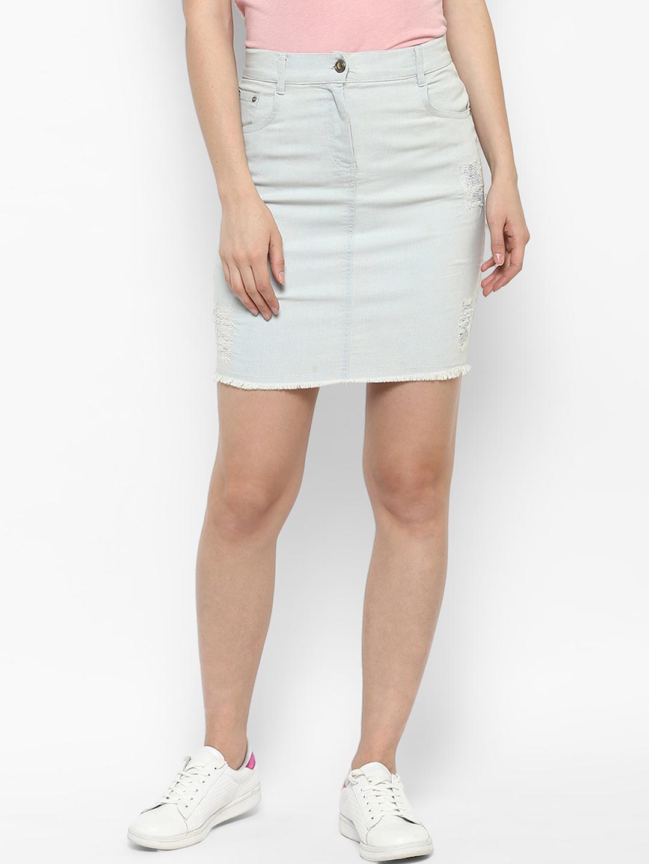 e949893f6e Buy StyleStone Women Blue Solid A-Line Denim Skirt Online ...