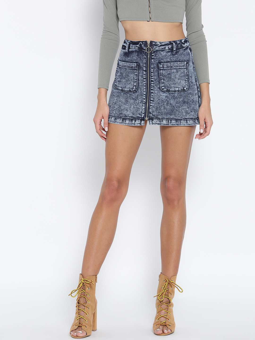 a5970e829a11 Buy FOREVER 21 Blue Washed Denim Mini A-Line Skirt Online ...