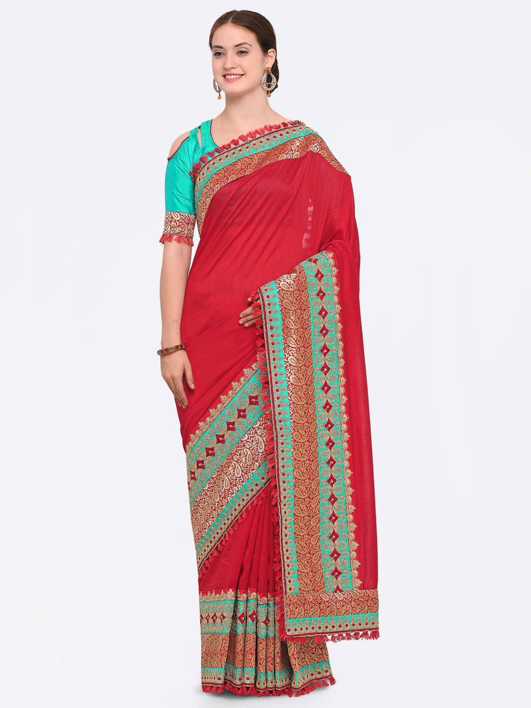 bd322f977 Buy Indian Women Red Embroidered Silk Blend Saree Online ...