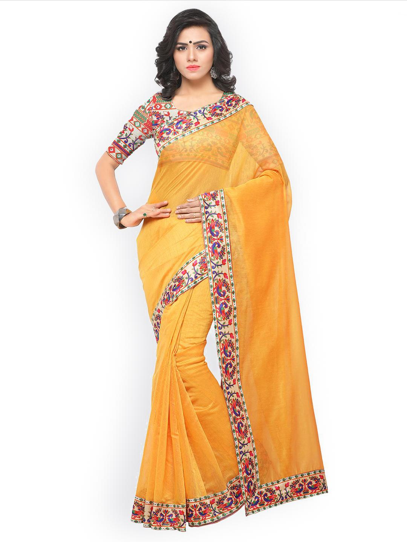 9bed1babddf Blissta Women Yellow Cotton Blend Solid Chanderi Saree