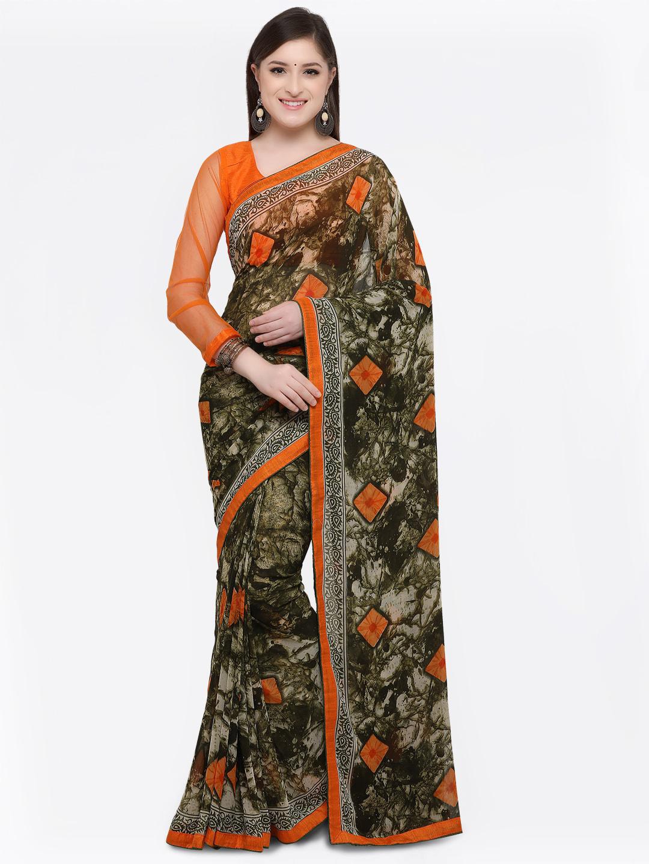 6e46f32b93d Buy Online Fayda Green   Orange Pure Georgette Printed Saree ...