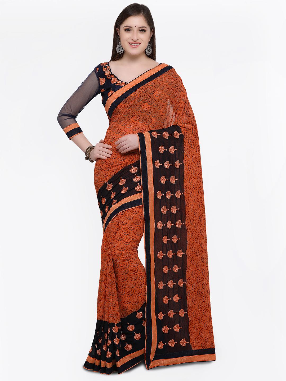 4eb802c99a5 Buy Online Fayda Orange Printed Pure Georgette Saree Online ...