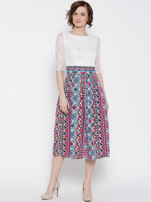 207d17679ba Buy U F Women White   Pink Printed Fit   Flare Dress Online ...