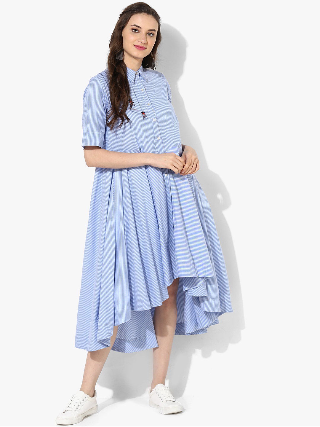 a43903dc70 Buy Sangria Women Off-White And Blue Striped A-Line Dress Online ...