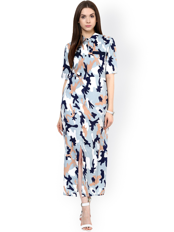 0fe8bf48b4 Buy Zima Leto Women Blue Printed Maxi Dress Online