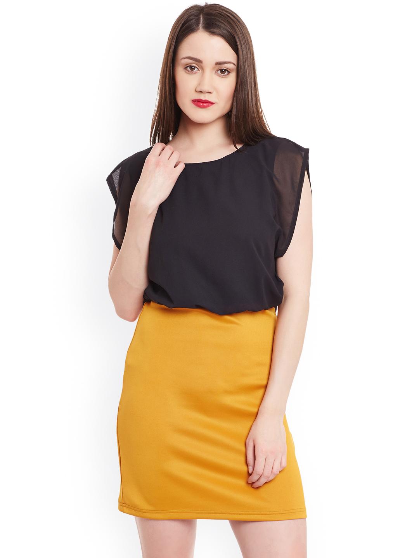 53ea9d8e1f Zima Leto Women Black   Mustard Yellow Colourblocked Blouson Dress