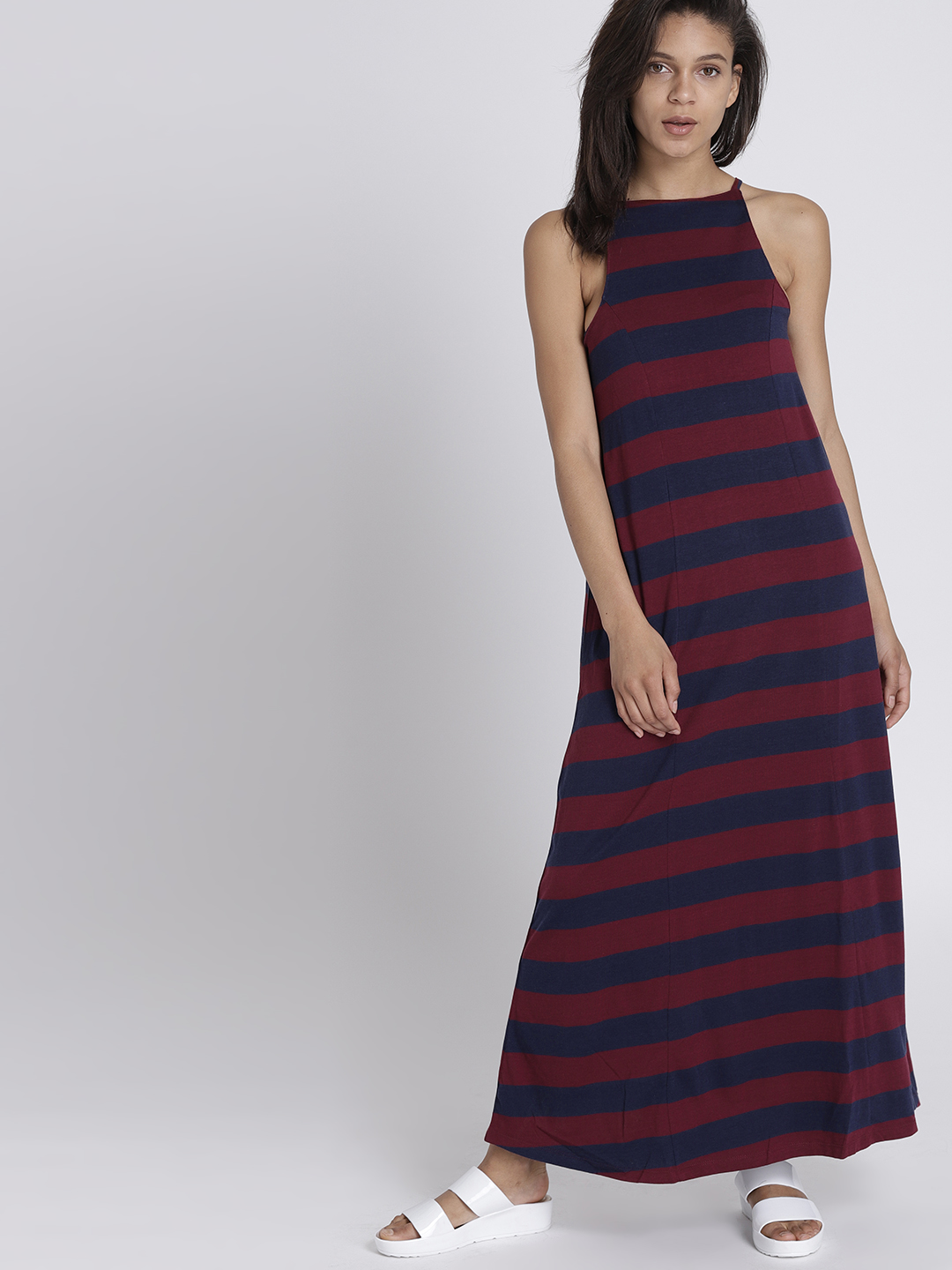 8837a43afe8 Buy Chemistry Women Maroon Striped Maxi Dress Online