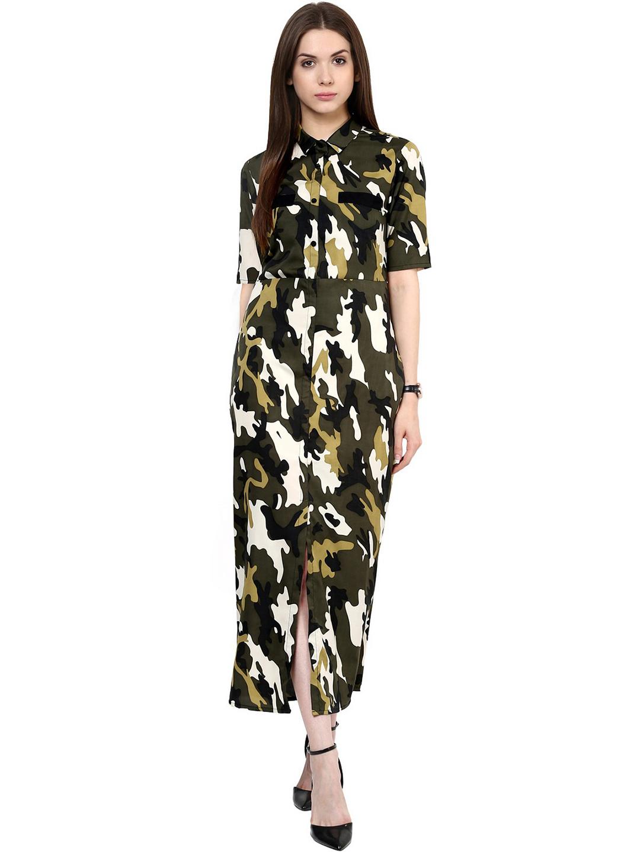 978a6e3a3d Buy Zima Leto Women Green   Black Camouflage Print Maxi Dress ...