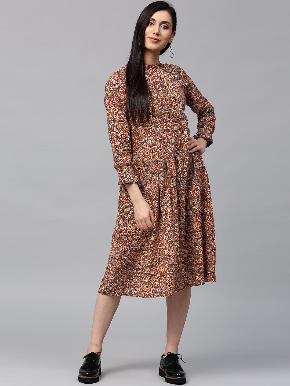 Buy Jaipur Kurti Women Maroon   Beige Printed A-Line Midi Dress ... 51307da6dd