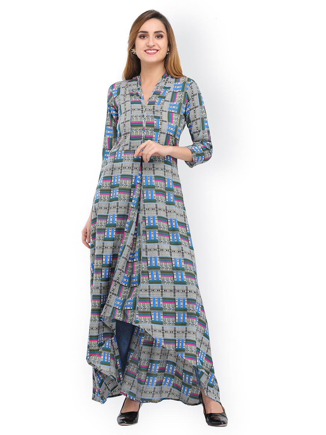 Buy Cottinfab Women Grey Printed Maxi Dress Online  67b2c4265